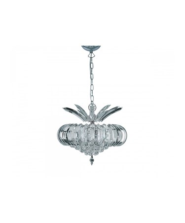 Searchlight Sigma Ceiling 5 Light Pendant - Chrome -Clear Crystal Prisms & Balls