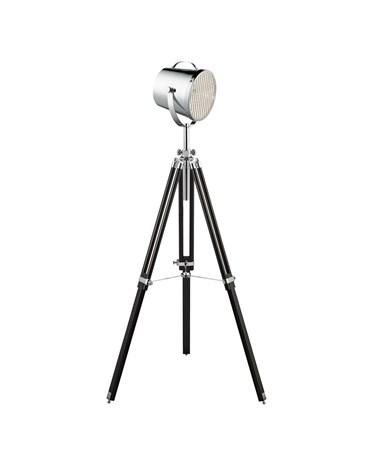 Searchlight Adjustable Stage Light Floor Lamp -  Chrome Shade - Black Tripod