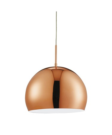 Searchlight Domas Dome Pendant Light - Shiny Copper - 300Mm - Adjustable Drop