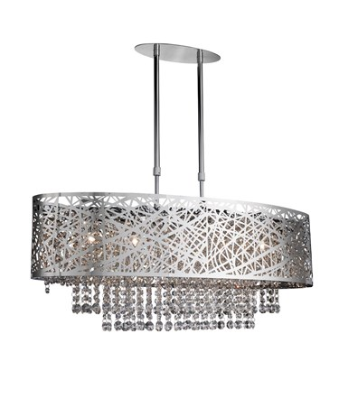 Searchlight Mica Oval Semi-Flush Ceiling Light - Chrome - Pattern - Crystal