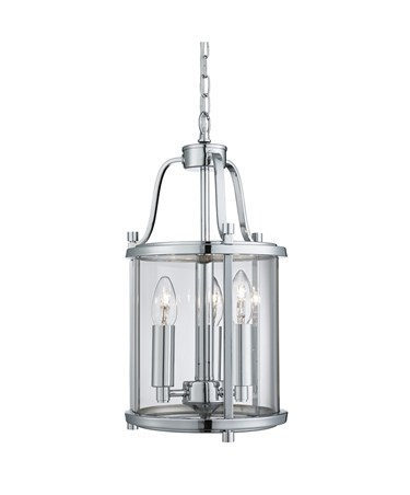Searchlight Victorian Lantern 3 Light Fitting - Chrome - Clear Glass Panels