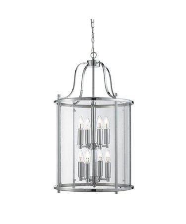 Searchlight Victorian Lantern 8 Light Fitting - Chrome - Clear Glass Panels