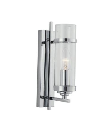 Searchlight Milo Single Candle Wall Light - Glass Cylinder Shade - Chrome