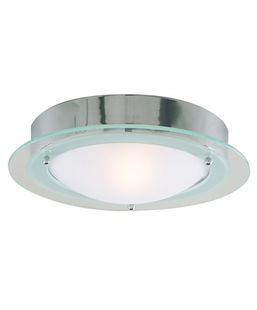 Searchlight Bathroom Flush Light - Chrome - Opal Glass