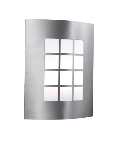 Searchlight Outdoor & Porch Single Wall Light - Stainless Steel - Checkerboard