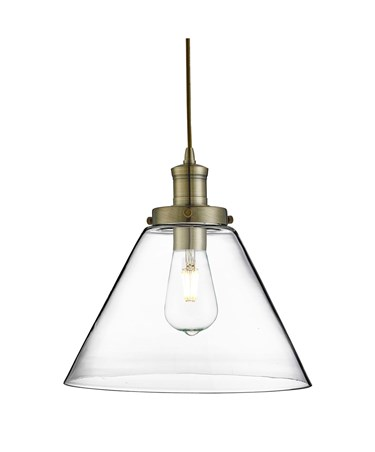 Searchlight Pyramid Domed Glass Pendant Ceiling Light - Antique Brass