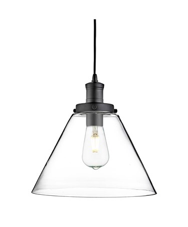 Searchlight Pyramid Domed Glass Pendant Ceiling Light - Black