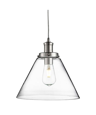 Searchlight Pyramid Domed Glass Pendant Ceiling Light - Chrome