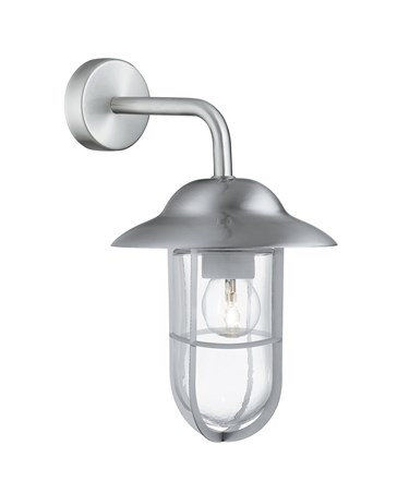 Searchlight Well Glass Outdoor Wall Light - Satin Silver - Clear Glass - IP44