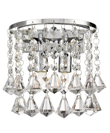 Searchlight Dorchester Wall Light - Chrome - Diamond Crystal Drops
