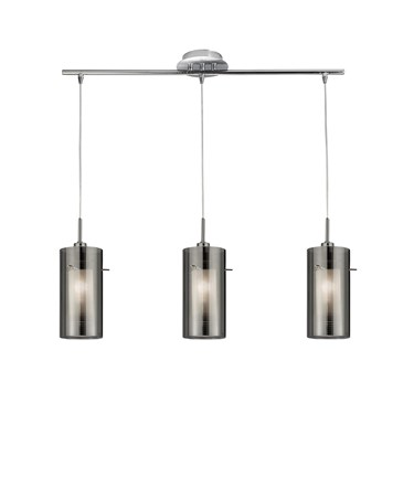 Searchlight Duo 2 - 3 Light Ceiling Pendant With Smokey/Frosted Glass Shades