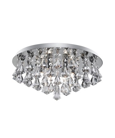 Searchlight Hanna Pyramid Drop 6 Light Fitting - Chrome - Diamond Shape Crystals