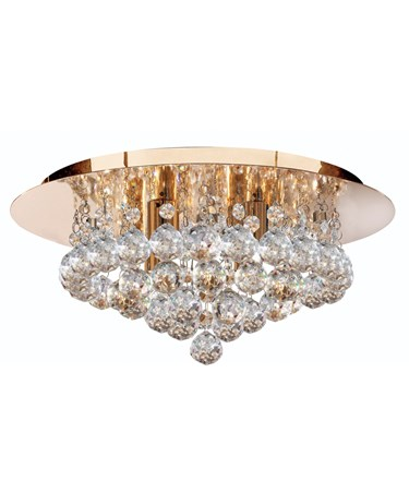 Searchlight Hanna 4 Light Round Fitting - Gold - Round Crystals
