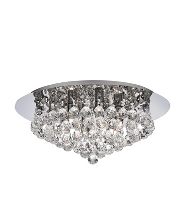 Searchlight Hanna Pyramid Drop Round 6 Light Fitting - Chrome - Round Crystals