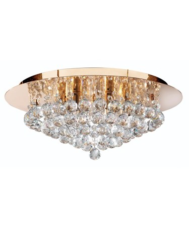Searchlight Hanna Pyramid Drop Round 6 Light Fitting - Gold - Round Crystals