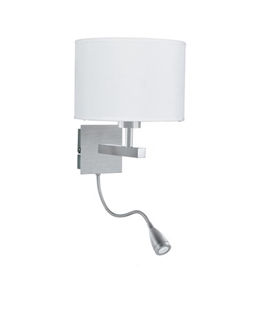 Searchlight Dual Arm Wall Light - Led Flexi Arm - Satin Silver - White Shade
