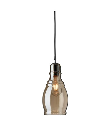 Searchlight Olosson Single Pendant Light - Amber Glass Shade