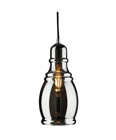 Searchlight Olosson Single Pendant Light - Smokey Glass Shade