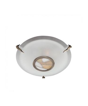 Searchlight Tiffany Flush Round Ceiling Fitting - Glass - Tiffany Glass Centre