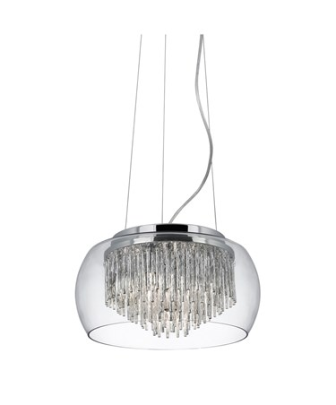 Searchlight Curva 4 Light Pendant - Clear Glass - Aluminium Spiral Tubes