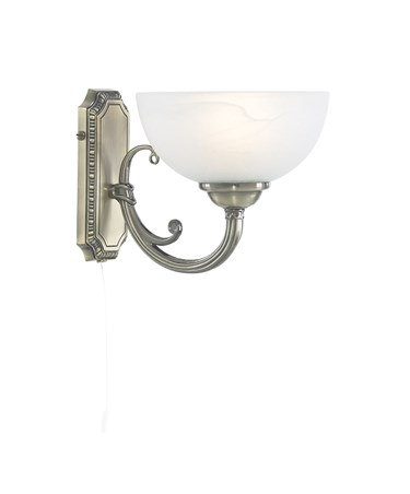Searchlight Windsor Wall Light - Antique Brass - Marble Glass