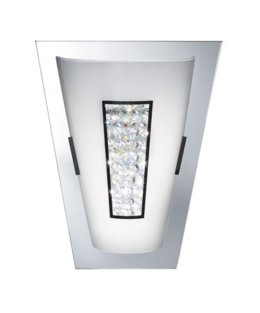 Searchlight LED Wall Light - Chrome - Mirror Edge - White Glass & Crystal Inner