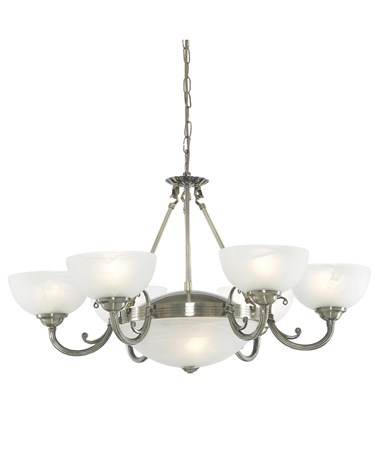 Searchlight Windsor Ceiling 8 Light - Antique Brass - Marble Glass