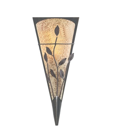 Searchlight Bronze Leaf Deco Wall Light With Textured Amber & Frosted Glass