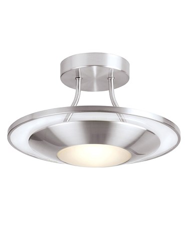 Endon Firenz Flush Ceiling Light - Satin Chrome & Glass