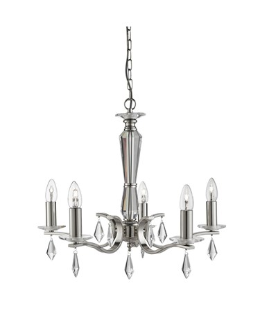 Searchlight Royale 5 Light - Satin Silver - Glass Sconces & Drops