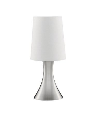 Searchlight Touch Table Lamp - Satin Silver Base - White Tapered Shade