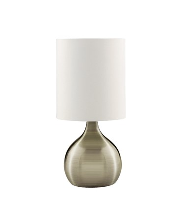Searchlight Touch Table Lamp - Antique Brass Base - White Drum Shade