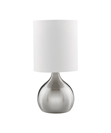 Searchlight Touch Table Lamp - Satin Silver Base - White Drum Shade