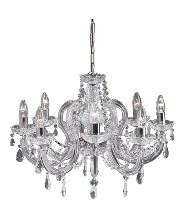 Searchlight Marie Therese  8 Light Chandelier - Crystal - Chrome