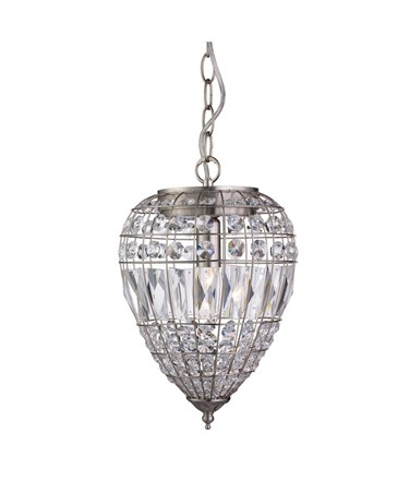 Searchlight Single Pendant Light - Satin Silver - Clear Glass Buttons & Drops