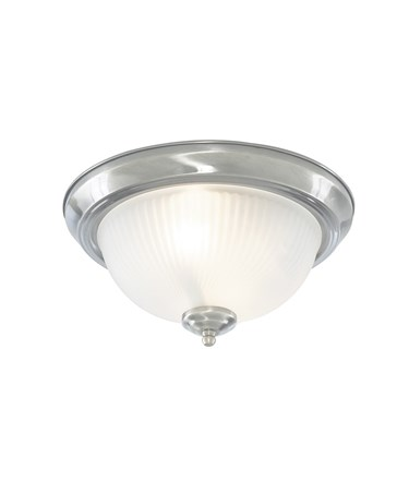 Searchlight Flush American Diner Light Fitting - Satin Silver - Glass - Ip44