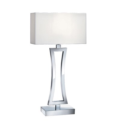 Searchlight Curved Rectangle Table Lamp - Chrome - White Shade