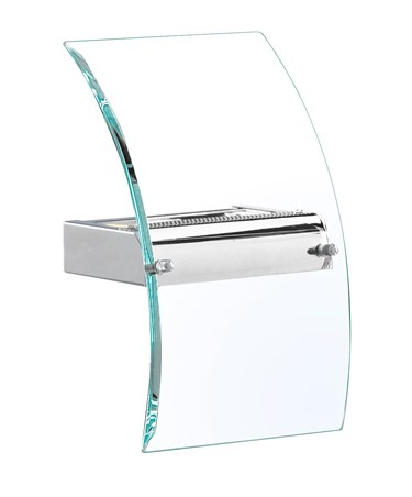 Searchlight Curved Glass Modern Wall Light - Chrome - Bevelled Curved Glass