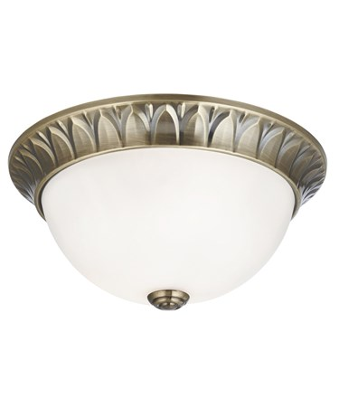 Searchlight Flush Ceiling 2 Light - Antique Brass - Frosted Glass Shade
