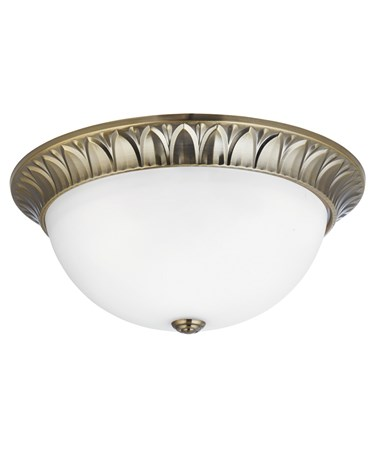 Searchlight Flush Ceiling 3 Light - Antique Brass - Frosted Glass Shade