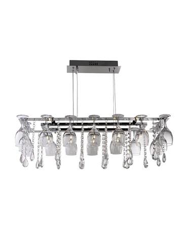 Searchlight Vino Rectangular 10 Wine Glass Ceiling Light - Chrome - Crystal Deco