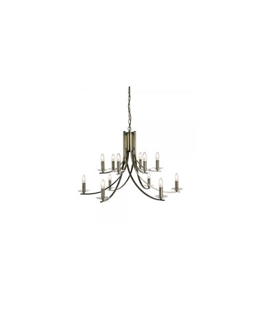 Searchlight Ascona - 12 Light Ceiling Pendant - Antique Brass - Glass Sconces