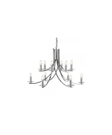 Searchlight Ascona - 12 Light Ceiling Pendant - Satin Silver - Glass Sconces