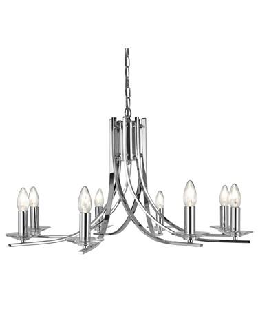 Searchlight Ascona - 8 Light Ceiling Pendant - Chrome - Glass Sconces