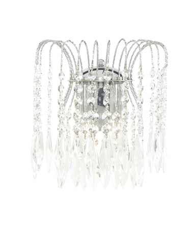 Searchlight Waterfall Double Wall Light - Crystal Buttons & Drops