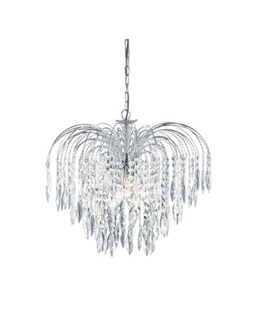 Searchlight Waterfall 5 Light Pendant - Cascading Crystal Buttons & Drops