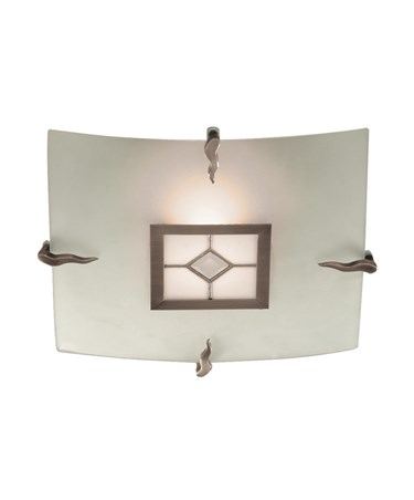 Searchlight Tiffany Flush Square Ceiling Fitting - Glass - Tiffany Glass Centre