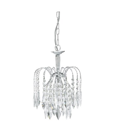 Searchlight Waterfall Pendant - Cascading Crystal Buttons & Drops