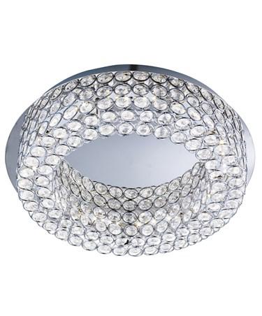 Searchlight Vesta Flush Ceiling Light - Led - Chrome - Clear Crystal Buttons