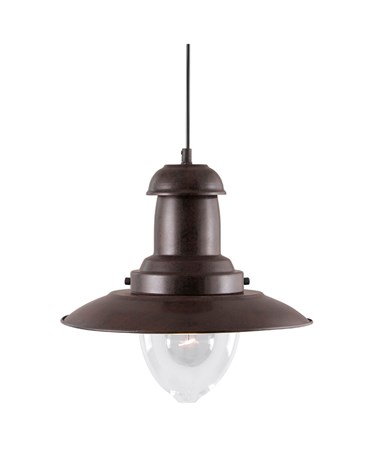 Searchlight Fisherman Single Pendant Light - Rustic Brown - Glass Shade